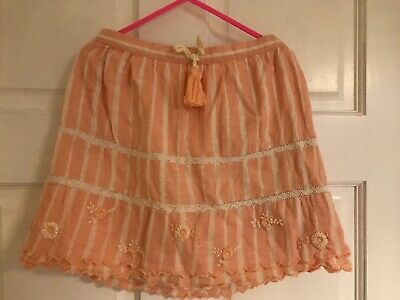 Next 6-7 Years Girls Pink Linen And Cream Skirt Embroidered