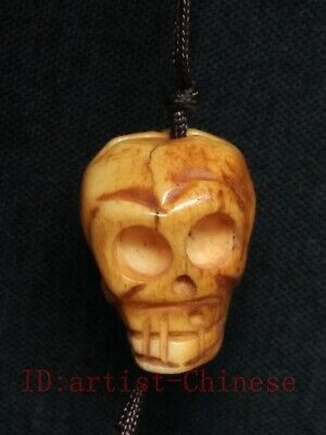 Collection Old China Tibet Hand Carving Exorcism Skull Necklace Pendant Trinket