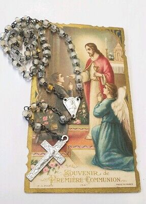 Antique  French 1920's Glass  Rosary