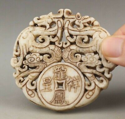 Chinese old natural jade hand-carved statue dragon phenix pendant 2.7 inch
