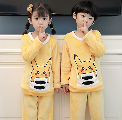 Kids Boys Girls Pokemon Pikachu Fleece Long Sleeve Winter Pyjama Set Nightwear