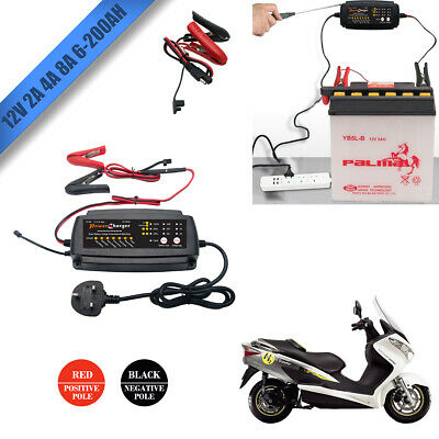 12V Electronic Automatic Smart Fast Trickle Car Van Battery Charger LED 2 4 8Amp