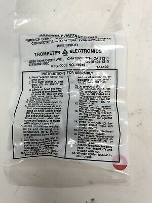 """Trompeter """"Wrench Crimp"""" 70 Series Concentric Twinax Connector TAI-102 NEW"""