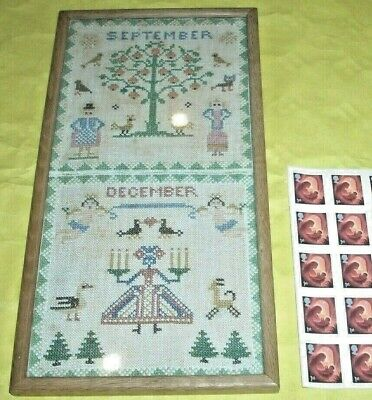 Antique Needlework Sampler In Glazed Frame - Marked September December