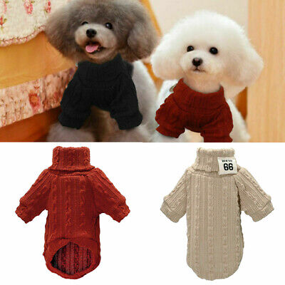 Dog Sweater Chihuahua Jumper Winter Knitwear Pet Puppy Red Black Clothes Knitted