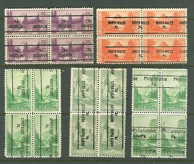 Pennsylvania precancel on five 1934 National Parks blocks of four