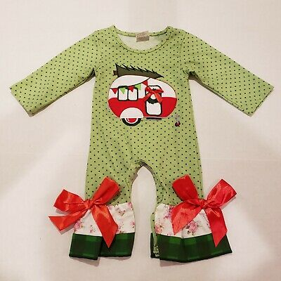 Christmas Baby Girl 12-  18 Months Romper  Outfit Clothes Camper Bows Camping