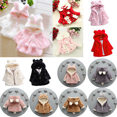 Girls Faux Fur Ear Hoodie Coat Kids Fleece Jacket Hooded Snowsuit Outwear Tops