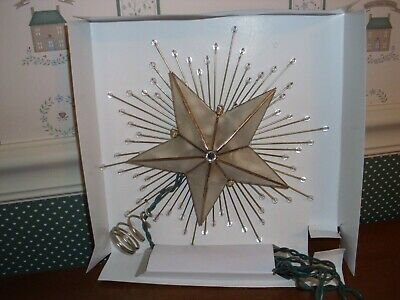 "Kurt Adler-10""-5 Point Capiz Star With Rays & Beads Lighted  Tree Topper-Display"