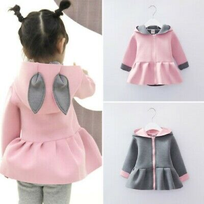 Toddler Baby Kid Girls Bunny Rabbit Ear Hooded Coat Dress Outwear Jacket Outfit