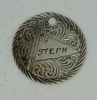 Antique Victorian English Sterling Silver Love Token 'Steph' threepence Charm