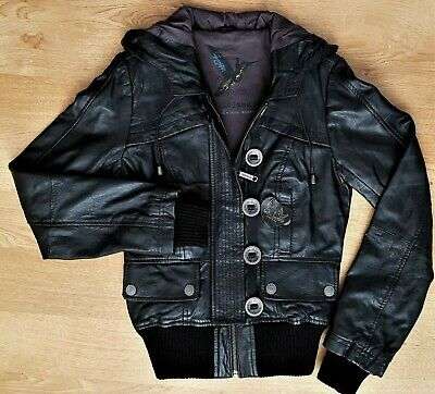 Brand New Quality River Island Real Leather HoodedvJacket Women's/ Girls Size 6