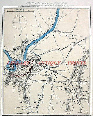 Civil War BATTLE OF CHICAMAUGA 1865 Chattanooga Topographical Color Map Print