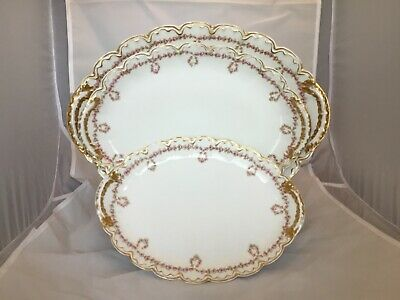 3 Theodore Haviland Limoges Platters Schleiger 319 Pink Rose Drop Swags