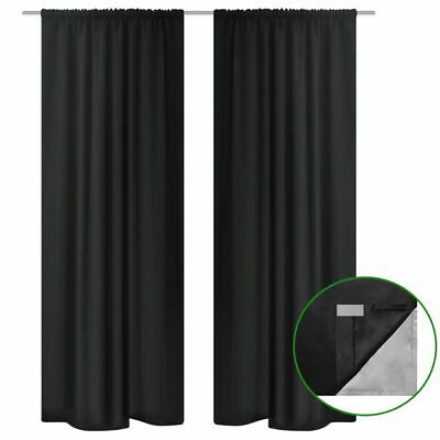 vidaXL 2x Blackout Curtains Double Layer 140x175cm Black Window Drapes Blinds~