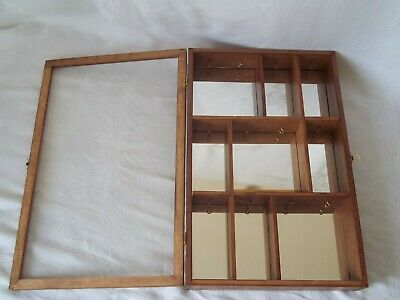 """Wood & Glass Display Mirror Cabinet Case Shelves 21"""" x 13.5"""" Waterford Ornament"""