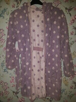 Vertbaudet mauve lilac spotted Girls winter bath robe dressing gown age 14 yrs