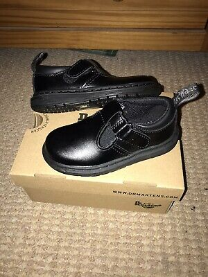DR MARTENS Boys Girls BLACK Ryan T Lamper Smart Kids Shoes. UK Size Infant 7