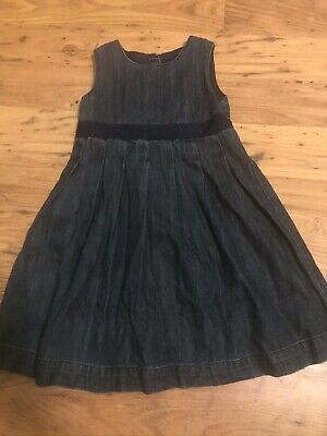 GIRLS MOTHERCARE BLUE DENIM PINAFORE STYLE DRESS age 3 - 4 years IN VGC
