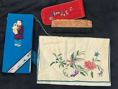 Antique Vintage Chinese Embroidery Brush & Case Pouch & Bridge Score Card Holder