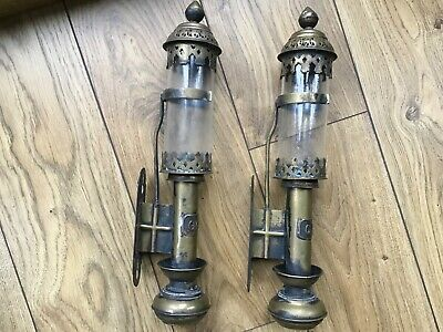 Original pair of  GWR Great Western Railway Brass Carriage Wall Candle Lamps