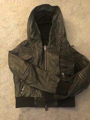 ALL SAINTS Womens Black Leather Jacket with Oversized Hood 12