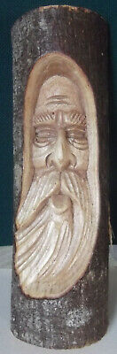 Fabulous Hand Carved Wooden Wizard / Bearded Man's Face  - Single Piece Of Wood