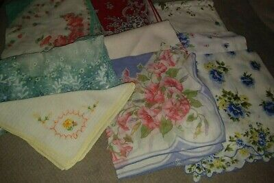 8 Vintage Multi-Colored Lady's Women's Hankies Assortment Crafts Aprons Quilts