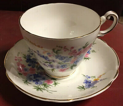 "REGENCY ENGLISH BONE CHINA FLORAL Forget-me-nots 1 Cup 3"" 6 H & Saucer 5.5"" Dia"