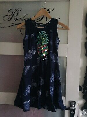 New Girls Lace Top  Sequinned Pineapple Dress Aged 9/10 By Desigual