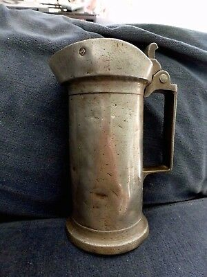 Antique French Rudotalille Mon. Oudart #8 Lidded Pewter Etain Tankard