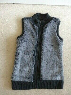 Mantaray Grey Faux Fur Front Knitted Gilet - Size 8