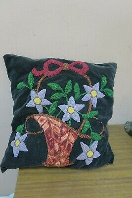 "Antique Punch Needle Embroidery Velvet Cushion Pillow 14"" x 15"""
