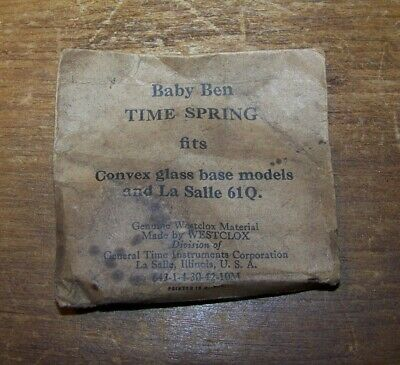 Baby Ben TIME MAINSPRING for base models and La Salle 61Q NOS Westclox