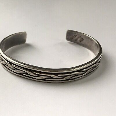 HEAVY Vintage Mexico Sterling Silver Thick Bracelet Taxco Cuff 30 Gr