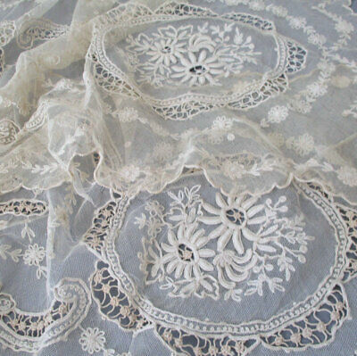 """2 Vintage Creamy TAMBOUR LACE Runners 32"""" - 38"""" Embroidered FLOWERS + Cutwork"""