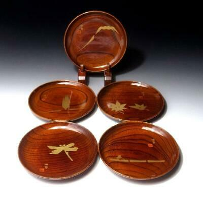 SJ18:  Vintage 5 Japanese Lacquered Wooden Tea Plates, Gold MAKIE