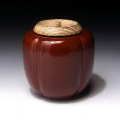 AL24: Vintage Japanese Lacquered Wooden Tea Caddy, NATSUME, Natural wood