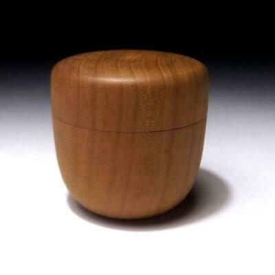 AR28: Vintage Japanese Wooden Tea Caddy, Natsume, Natural wood, Tea ceremony