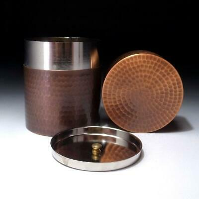 AF23:: Vintage Japanese Double-capped Copper Tea Caddy, Uchidashi Work