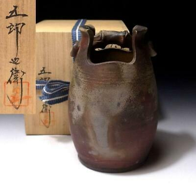 AR23 Japanese Pottery Vase, Bizen ware with Signed wooden box, Height 6.3 inches