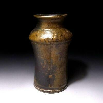 AR21 Japanese Pottery Bud Vase, Bizen ware, Height 7.8 inches, Natural ash glaze