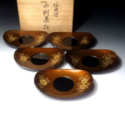 YG11: Vintage Japanese 5 High-class Wooden Tea Cup Saucers, Wajima lacquer ware