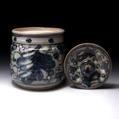 AB26: Japanese Hand-painted Tea Ceremony Mizusashi, Water Container, Kyo ware