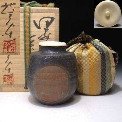 QD4: Japanese Tea caddy with High class lid, Bizen ware by Famous Taisuke Sato