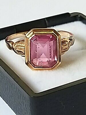 ANTIQUE 1930s ART DECO PINK STONE 10k SOLID ROSE GOLD RING SIZE 10.25 Not SCRAP