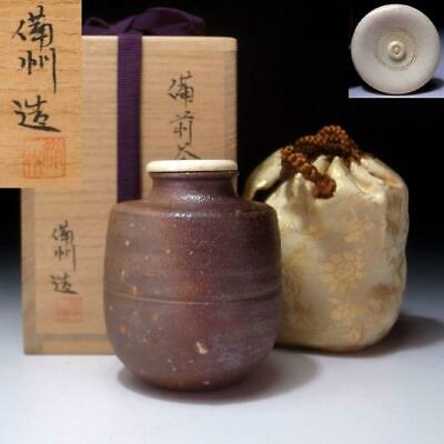 UD12: Japanese Tea caddy with High-class lid, Bizen ware with signed wooden box