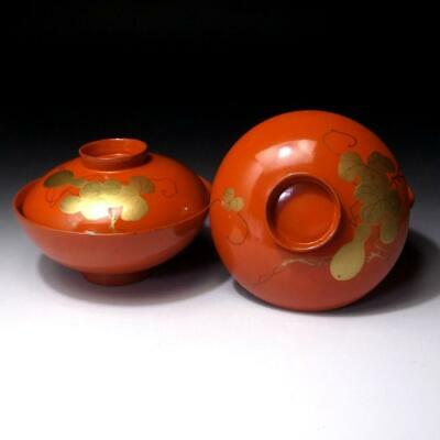 LD13: Vintage Japanese Lacquered Wooden Covered Bowls, MAKIE, HYOTAN, Gourd