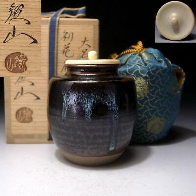 AG26 Japanese Tea caddy with High-class lid by Famous potter, Jyotetsu Yamaguchi