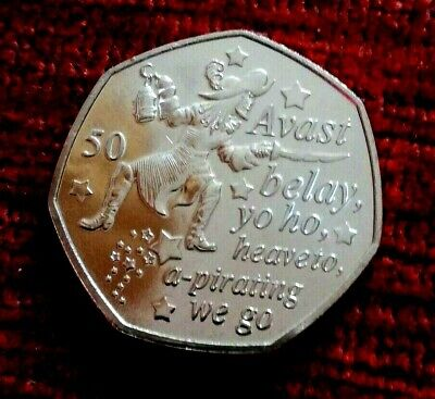 2019  New PETER PAN  Captain Hook  Isle of Man 50p coin UNC from a sealed bag
